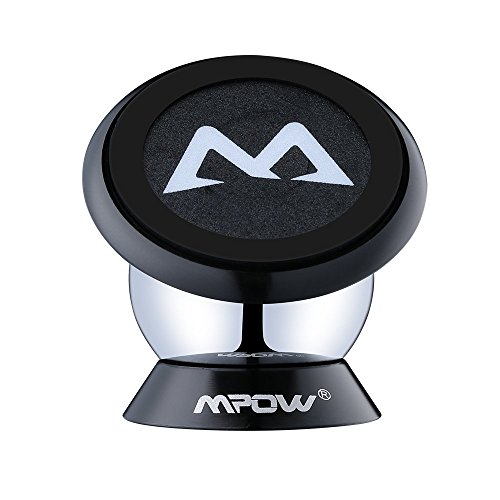 Magnetic Mount Holder, Mpow 360 Degree Rotatable Sticky Magnetic Mini Car Phone Mounts Holder Car Cradle for iPhone 6s/SE/Plus,Huawei P9 and Other Smartphones, Black
