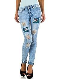 Schuhcity24 Damen Jeans Hose Jeanshose Damenjeans Used Look Skinny Röhre  Röhrenjeans Bluejeans db33b22b8c