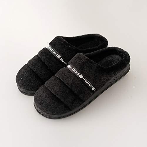 en Männer Baumwolle Hausschuhe Winter Home Innen Warm Non-Slip Soft Komfortable Silent Boden- Liebhaber Schuhe, 46-47, Schwarz Farbband ()