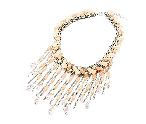 CC824 Bib Statement Necklace Choker and Waterfall Stones Multi-Chains and