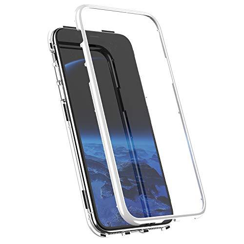 MoreChioce kompatibel mit iPhone XR Hülle,kompatibel mit iPhone XR Handyhülle Magnetische Adsorption,360 Grad Full Body Protection Glitzer Chrom Spiegel Schuthülle Silikon Bumper,Weiß Glas,EINWEG