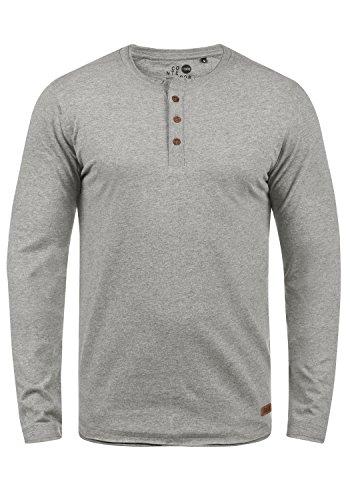 !Solid Taoki Herren Longsleeve Langarmshirt mit Grandad-Kragen aus hochwertiger Baumwollmischung, Größe:L, Farbe:Grey Melange (8236)