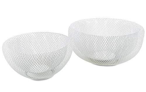 levandeo 2tlg. Schalenset 2er Set Metall 3D Effekt weiß 24cm & 28cm rund Schüssel Dekoschüsseln Schale Dekoschale