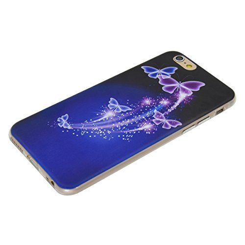 iPhone 6S plus Coque, Aeeque Butterfly Fantasy Violet Dessin Silicone Doux TPU Anti-rayures Protection Complète du Corps Case Cover Housse Etui pour iPhone 6 plus 6S plus 5.5 pouce Butterfly Fantasy Violet