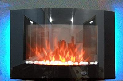 Truflame 2018 7 Colour Changing Led Wall Mounted Arched Glass Electric Fire Pebble Effect!