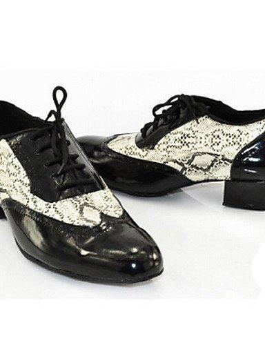 ShangYi Chaussures de danse (Noir) - Personnalisables - Talon Bottier - Cuir - Latine / Jazz / Baskets de Danse / Claquettes / Moderne Black