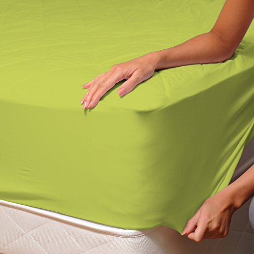 Verde (Lime) - SoulBedroom 100% Algodón Sábana bajera / 150 x 200...