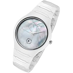 Cirros Milan Luxury Unisex Men's & Women's White Ceramic Watch with Crystals and a Mother of Pearl Dial 2376GW
