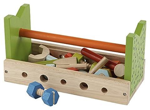 Werkzeugkasten mit Zubehör / 23-teilige Tischwerkbank aus Holz / Maße: 30 x 14 x 15,5 cm / für Kinder ab 2 Jahren geeignet