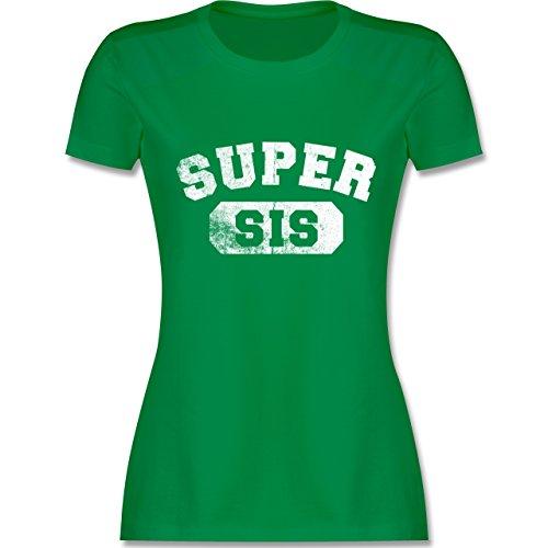 Shirtracer Schwester & Tante - Super Sis - Vintage-&Collegestil - Damen T-Shirt Rundhals Grün