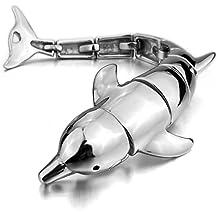 MunkiMix Grande Gran Pesado Fuerte Acero Inoxidable Pulsera Brazalete Eslabones Link Enlace Muñeca El Tono De Plata Negro Delfín Hombre