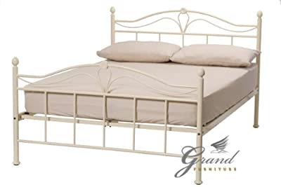 Exclusive Apollo French Style Cream Metal Bed Frames Double 4FT6 Retro Antique Bedsteads