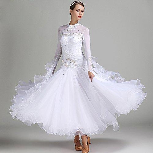 Moderne Dame Große Pendel Handgestickten Tango und Walzer Tanz Kleid Tanzwettbewerb Rock Lange Ärmel Strass-Tanz-Kostüm,White,XL (Swing Ballroom Tanz Kostüme)