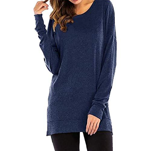 AIFGR Damen Longshirt Einfarbiger Rundhalsausschnitt locker Sweatshirt Pullover Bluse Oberteile Oversize Tops Falten Kurzarm Sommer blusen(Dunkelblau,M) (Monster High T-shirts Für Erwachsene)