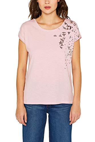 edc by ESPRIT Damen 049CC1K055 T-Shirt Rosa (Light Pink 690) Small (Herstellergröße: S)