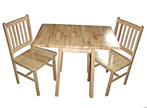 Antik Natural Wood Compact Drop Leaf Table For Kitchen Or