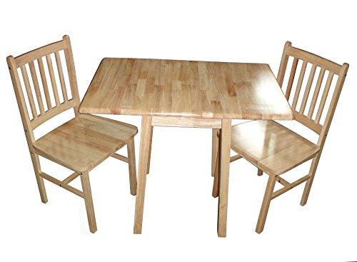 Antik Natur Holz Compact Drop Leaf Tisch für Küche Oder Esszimmer mit 2Stühlen -