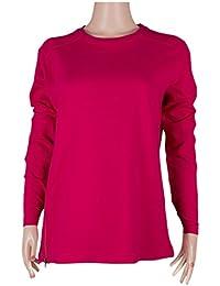 Las mujeres algodón/poliéster francés Terry–L/S cuello redondo Top con cremallera Trim & Reverse francés Terry en el hombro y parte trasera de prendas de vestir