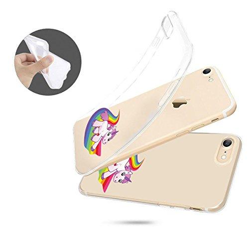 finoo | iPhone 6 / 6S Weiche flexible Silikon-Handy-Hülle | Transparente TPU Cover Schale mit Motiv | Tasche Case Etui mit Ultra Slim Rundum-schutz | Einhorn klein 1 Einhorn rutscht