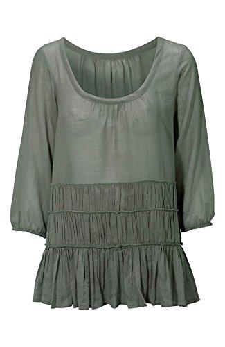 Damen-Oberteil für Damen in Weiß oder Grün -Leuchtmittel Rüschen, 6-26 sommerlich, Baumwolle, Übergröße Grün - Grün