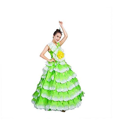 Wgwioo Frauen Flamenco Kleid 180 360 540 720 Degreen Sleeveless Unternehmen Schule Business-Aktivitäten Blumen Blütenblätter Rock Bühnenöffnung Tanzkleid Performance Chorus , Green Skirt 720 , Xxl (Chorus Girl Kostüm)