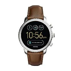 Fossil Herren-Armbanduhr Q Explorist Smartwatch Leder FTW4003