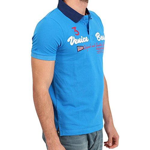 FRESH BRAND Herren Kurzarm Polo Shirt in Türkis/Blau Blau