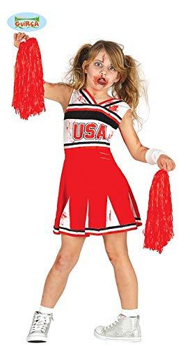 Zombie Tanz Kostüm - Guirca Zombie Cheerleader Kostüm für Mädchen Karneval Fasching Tanzauftritt Gr. 110-146, Größe:128/134