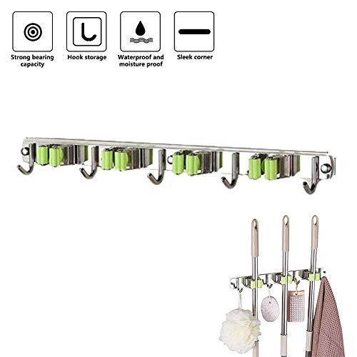 Wanbor Broom Mop Holder,Heavy Duty Tool Hanger Wall Mounted Stainless Steel  Broom Mop Holder Self Adhesive Multipurpose Wall Mounted Organizer for