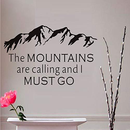 Cyalla Die Berge Rufen Und Ich Muss Gehen Inspirierende Zitate Wandaufkleber Abnehmbare Vinyl Wandtattoo Home Diy Kunstwand 67 * 43 Cm