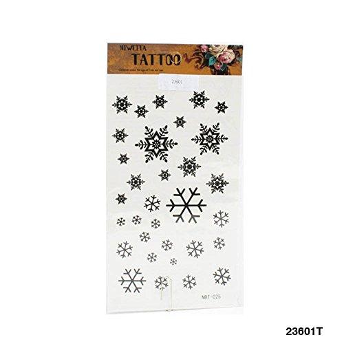 Winterliche Tattoos mit verschiedenen Schneeflocken in schwarz (Körper, Schlitten)
