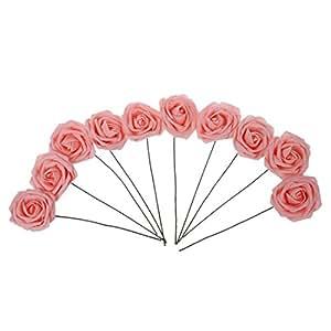TOOGOO (R) Pianta artificiale fiore Mazzo Rose rosa da sposa decorazione di cerimonia PE Schiuma
