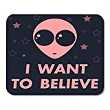 Mouse Pads Bizarre Black Face of Aliens I Want to Believe World UFO Day White Bigfoot Cartoon Mouse Pad for notebooks,Desktop Computers mats 7.08 (L)x 8.66 (W) inch Office Supplies