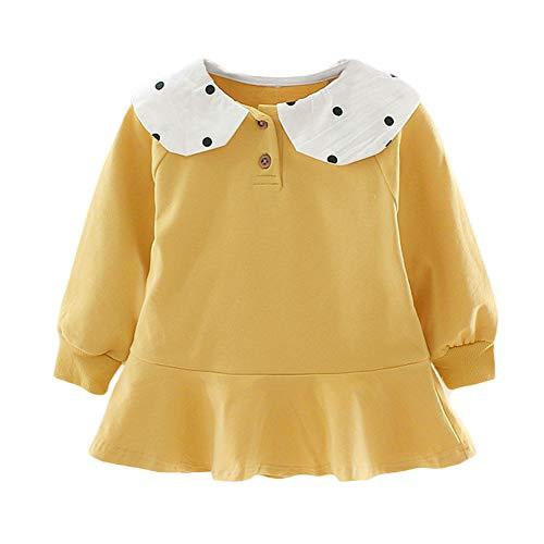 good01 Baby Mädchen Minikleid, Punkte Gedruckt Langarm Minikleid, Umlegekragen Girly Prinzessin Kostüm Grün - Kitty Katze Gesicht Kostüm