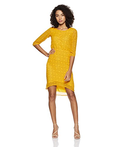 Park Avenue Woman A-Line Dress (PWEA00299-Y4_Medium Yellow_S)