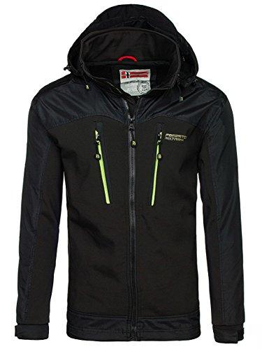 BOLF Herren Übergangsjacke Softshell mit Kapuze Zip Casual Style FREESTEP 2345 Schwarz-Grün M [4D4] (Jacke Für Männer)