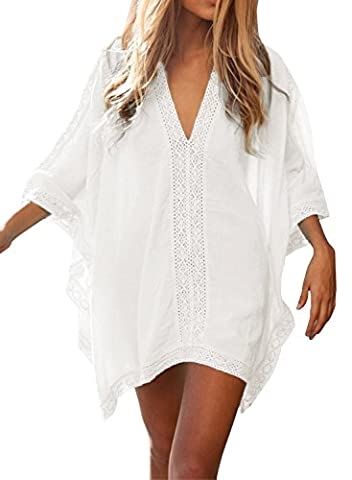 HIMONE Women's Floral Lace Beach Bikini Cover-up (One size, White)