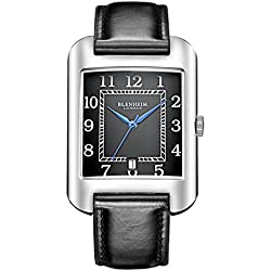 Blenheim London® B3180 Curve Watch Black Arabic Numeral with Blue Hands with Black Leather Strap