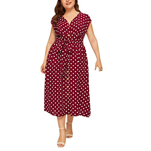 Fresofy Sommerkleid Damen Großen Größen Lang mit Blüte Drucken Kurzarm Rundhals High Waist Elastische Strandkleider Maxikleider Ballkleid
