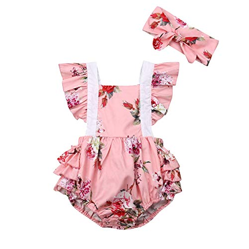 squarex Sommer Baby Mädchen Blumendruck Overall Spitze Rüschen Strampler Backless Body Sleeve Strampler Hoodie Folding Dress + Stirnband