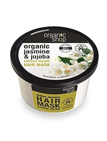 ORGANIC SHOP - Masque Volumisant Jasmin et Jojoba - Soin nourrissant - Cheveux Secs et Abîmés - Régénérante - Riche en Vitamines et Acides Aminés - Plus de Douceur et d'élasticité - 250