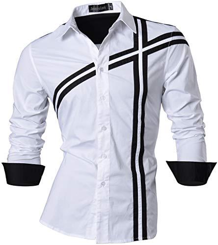 jeansian De Manga Larga De Los Hombres De Moda Slim Fit Camisas Men Fashion Shirts Z006 White XL