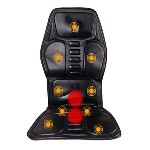 GJX Massage Heizkissen - 9 Vibrationsmassage Knoten Und 2 Heizkissen, Auto Hinten Massage Mit Heizungs-Funktion, Auto-Sitzheizung Cover, Schwarz