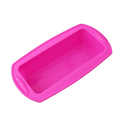 HENGSONG Silicone Cake Bakeware Mould Cake Pan Rectangle Bread Loaf Mold Baking Tray (Hot pink)