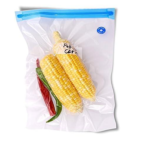 Herngee 26 x 34 cm Vacuum Zipper Bags, Vacuum Food Sealer Bags Food Storage Reusable Bags with Double-layer Zippers Designed, BPA free, Set of