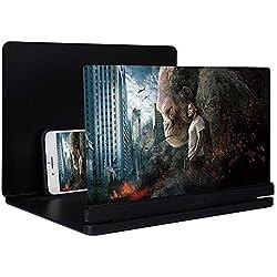 FOONEE Loupe d'écran 3D HD pour téléphone Portable avec Support Pliable en Plastique Dur 30,5 cm pour Tous Les Smartphones, iPhone, Samsung, Sony, Moto, LG