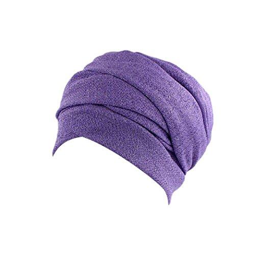URSING Damen Krebs Chemo Hygiene Alopezie Make-up Hut Falten Stretch Schal Turban Mützen Einfarbig Turban Kopfbedeckung Frauen Stretch Muslime Kopftuch Sommer Elegant Kopftücher (Lila) (Falten Mütze)