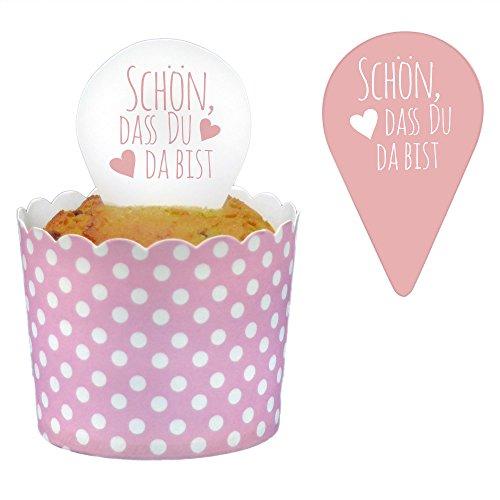 24 Frau Wundervoll Topper, Kuchenstecker - rosa, Schön, dass du da bist - Kuchenaufsatz Cake Topper Muffin Deko Cupcake Topping
