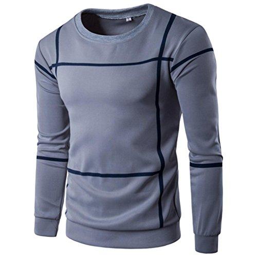 Preisvergleich Produktbild Mens Fashion Striped Langarm Sweater,  Kaiki Herren Pullover Mantel O Neck Shirt Outwear (XXXL,  Gray)