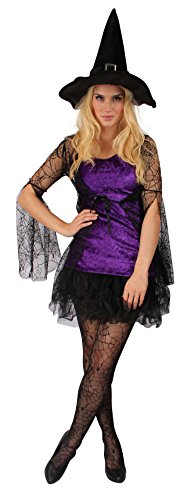 Hexenkostüm für Damen | Größe 34 | Zauberin Kleid | Zauber-Fee Faschingskostüm für Frauen | Böse Hexe Verkleidung für Halloween & Karneval | Magierin-Outfit für Erwachsene (Erwachsene Bösen Zauberin Halloween Kostüme)